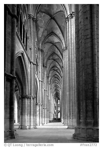 Side  aisle inside Bourges Saint Stephen Cathedral. Bourges, Berry, France (black and white)