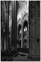 Interior of Gothic Bourges Cathedral. Bourges, Berry, France (black and white)