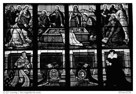 Stained glass detail, Saint-Etienne Cathedral. Bourges, Berry, France (black and white)