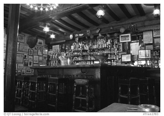 Inside a bar, Saint Malo. Brittany, France (black and white)