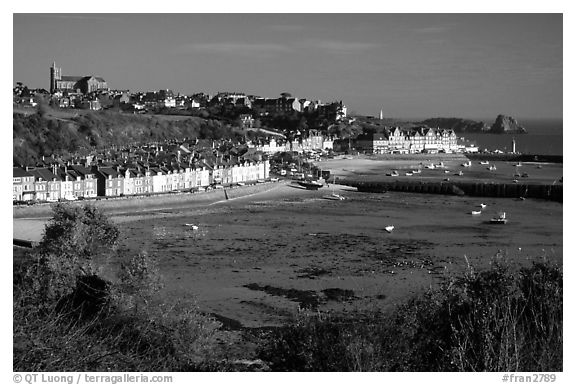 Cancale at low tide. Brittany, France (black and white)