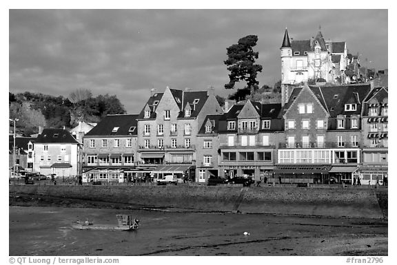 Waterfront of Cancale. Brittany, France (black and white)