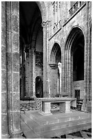 Chapel inside the Benedictine abbey. Mont Saint-Michel, Brittany, France (black and white)