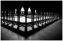 Cloister inside the Benedictine abbey. Mont Saint-Michel, Brittany, France (black and white)