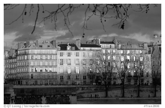 Waterfront houses on Saint-Louis island. Paris, France (black and white)