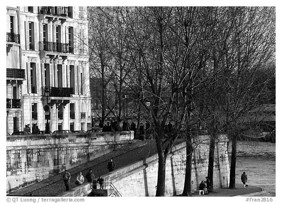 Waterfront and quay, Saint-Louis island. Paris, France (black and white)