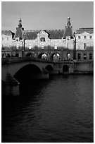 Louvre and Solferino Bridge at sunset. Paris, France ( black and white)