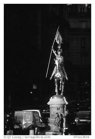Statue of Joan of Arc on the place des Victoires. Paris, France (black and white)