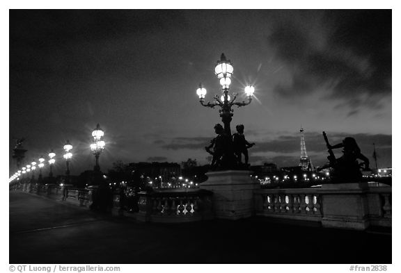 Black And White Picture Photo Lamps On Pont Alexandre Iii And Eiffel Tower At Night Paris France
