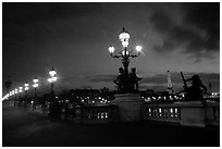 Pont Alexandre III at night. Paris, France ( black and white)