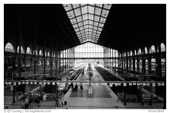 Gare du Nord train station. Paris, France (black and white)