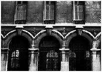 Facade of Lycee Louis-le-Grand, the most prestigious of the French high schools. Quartier Latin, Paris, France ( black and white)