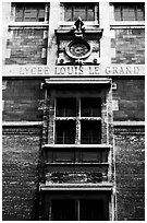 Facade of Lycee Louis-le-Grand, founded by Louis XIV in the 17th century. Quartier Latin, Paris, France (black and white)
