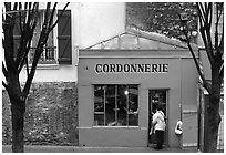 Red Cordonnnerie store. Paris, France ( black and white)