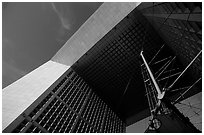 Detail of Grande Arche de la Fraternite, La Defense. France (black and white)