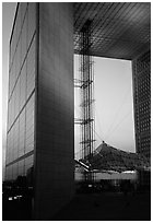 Grande Arche at dusk, La Defense. France (black and white)