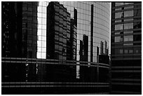 Reflections in modern office buildings, La Defense. France ( black and white)
