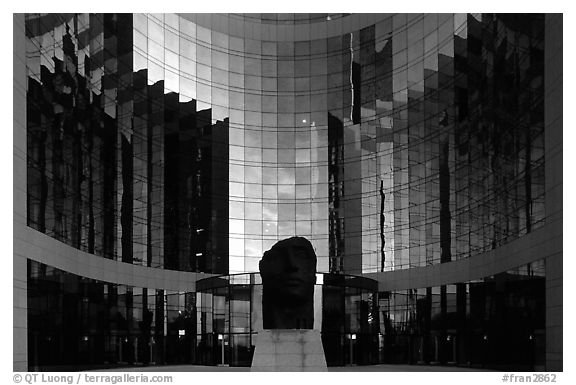 Reflections in modern office buildings, La Defense. France (black and white)