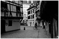 Street with half-timbered houses. Strasbourg, Alsace, France ( black and white)