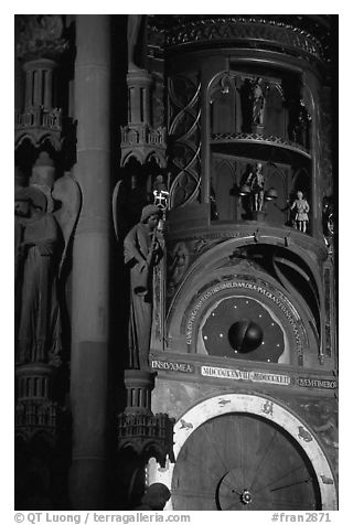 Astrological clock inside the Notre Dame cathedral. Strasbourg, Alsace, France (black and white)