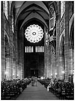 Inside the Notre Dame cathedral. Strasbourg, Alsace, France (black and white)