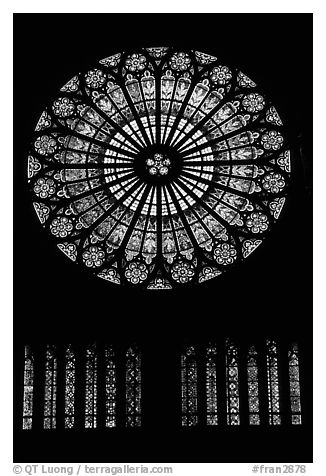 Rosace in the Notre Dame cathedral. Strasbourg, Alsace, France (black and white)
