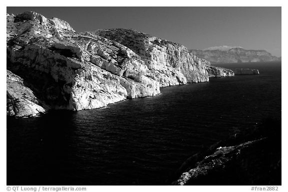 Calanque de Morgiou. Marseille, France (black and white)