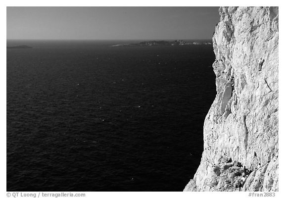 Calanque de Morgiou with rock climbers. Marseille, France (black and white)