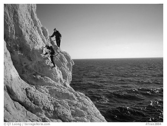 Scrambing to the Morgiou cape. Marseille, France (black and white)