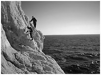Scrambing to the Morgiou cape. Marseille, France ( black and white)