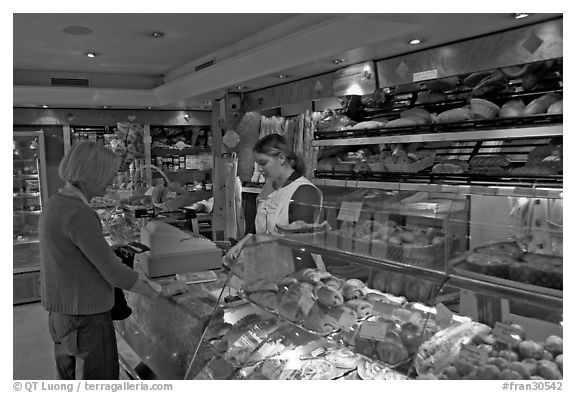 Inside a bakery. Paris, France (black and white)