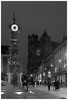 Dewailly Clock on the Marie-Sans-Chemise square by night, Amiens. France (black and white)
