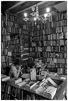 Front counter of Shakespeare and Company bookstore. Quartier Latin, Paris, France (black and white)
