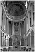 Chapel of the Versailles palace. France (black and white)