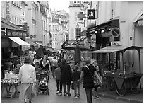 Rue Mouffetard. Quartier Latin, Paris, France ( black and white)