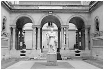 Courtyard of the College de France. Quartier Latin, Paris, France ( black and white)