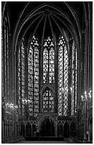 Pianist in the upper Holy Chapel. Paris, France ( black and white)