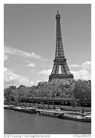 Black And White Picture Photo Seine River And Eiffel Tower Paris