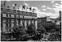 Typical appartment buildings. Paris, France (black and white)