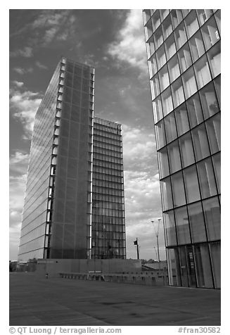 Two corner buildings of the Bibliotheque Francois Mitterand. Paris, France (black and white)