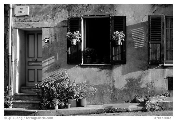 Street in Vallauris. Maritime Alps, France (black and white)