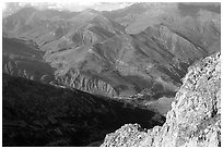 View of La Grave plateau and villages. France ( black and white)