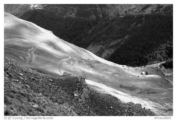 Col de la Cayolle. Maritime Alps, France (black and white)