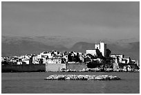 Antibes ramparts, and old town. Maritime Alps, France ( black and white)