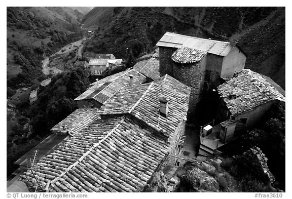 Rooftops in high perched Village. Maritime Alps, France (black and white)