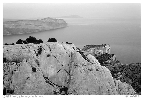 Near the Grande Candelle at dawn. Marseille, France (black and white)