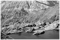 Lake and mountain hut, Mercantour National Park. Maritime Alps, France ( black and white)