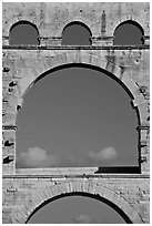 Arches detail, Pont du Gard. France (black and white)