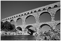 Roman aqueduct over Gard River. France (black and white)