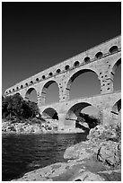 River Gard and Gard Bridge. France (black and white)